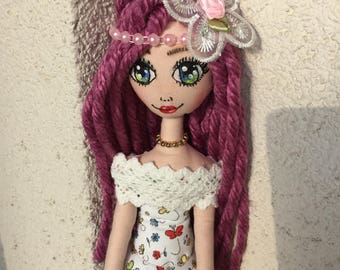 Tilda doll,cloth doll,rug doll,fabric doll,art doll,toy,decaration,handmade,gift,purple hair,sewing,girls,face painting