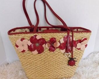 Vintage Brighton Raffia Straw Leather Flowers Ladybug Tote