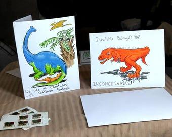 Set of cards, Dinosaur Invitation, Dinosaurs, Colourful, Prehistoric cards, Cartoon