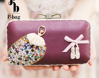 The Ballerina / Clutches and Handbags / Hard Case / Mini Cross Body / Handmade / All Occasions / Bridal Clutch / Day Clutch / Purse / Wallet
