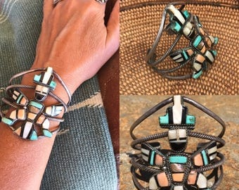 Vintage Zuni Jewelry, Vintage Native American Jewelry, Knifewing Bracelet, Old Pawn, Indian Jewelry, Turquoise Bracelet, Southwest Jewelry