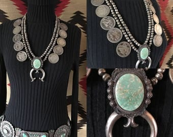 Vintage Native American Jewelry, Navajo Turquoise Necklace, Silver Coin Squash Blossom Necklace, Old Pawn Necklace, Boho Jewelry, Southwest