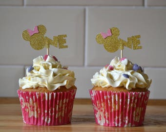 Minnie Mouse cupcake topper/ gold minnie toppers/ first birthday cake toppers/ glitter cake topper/pack of 6