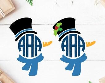 Snowman Monogram SVG Christmas Monogram SVG christmas SVG Boy Cricut Silhouette pdf png svg dxf Cut file Clipart