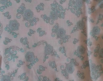 Blue Flower Pink Background Polycotton Fabric Baggy Trousers