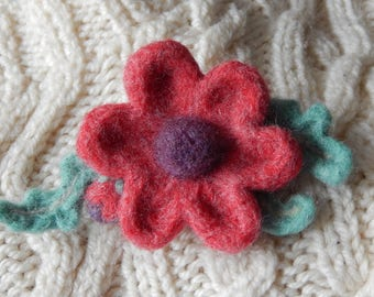Bonnie Red Blossom Brooch - needle felted