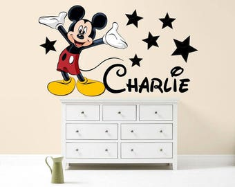MICKEY MOUSE Personalised Wall Sticker Walt Disney children's girl's boy's bedroom decal art graphic mural colour