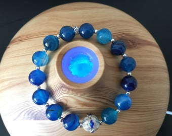 Blue natural agate stone and 925 sterling silver elastic bracelet