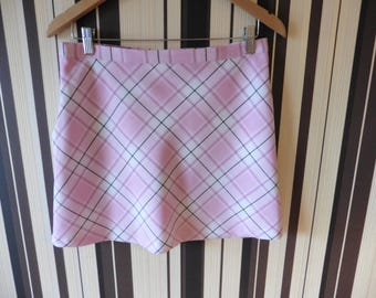 90's ONLY Pink Above The Knee Skirt/Skirt In Cage/Vintage Skirt In Diagonal Stripes/A-Line Skirt