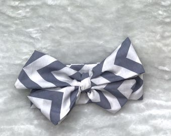 Gray and White Chevron Headwrap