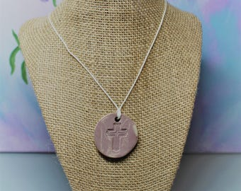Cross Clay Aromatherapy Necklace