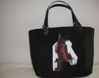 Horse,Paint,Pinto,Bag, Handbag, leather handles,canvas weave 100% Polyester. foam interlining ,cotton interior lining,  fabric, tote, pets