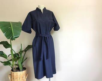 vintage lanvin slate blue shirtdress // belted shift // 80s minimalist //