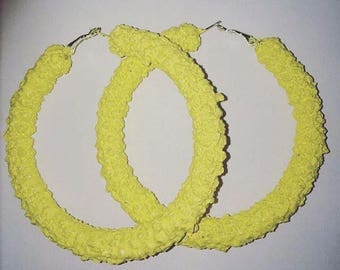 Banana yellow crystal hoop earrings