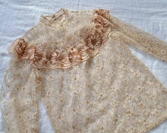 Bohemian Vintage Cream and Brown Lace Floral Detail see through Blouse / Size 10