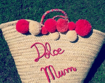 Basket, personalized tassels / Beach basket custom