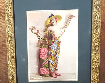 REPRODUCTION;  Hand-tinted French Postcard photograph of a dancer at the Casino de Paris c.1920, photo by Noyer, in vintage-look frame