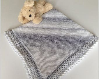 Hand knitted corner to corner garter stitch baby blanket with crochet edge, random self striping yarn in white silver and grey, one only