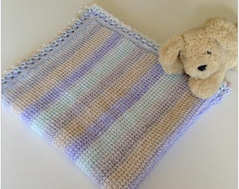 Crochet baby blanket, pastel shaded Tunisian crochet with lacy edging baby shower gift, unique, immediate shipping, suitable for boy or girl