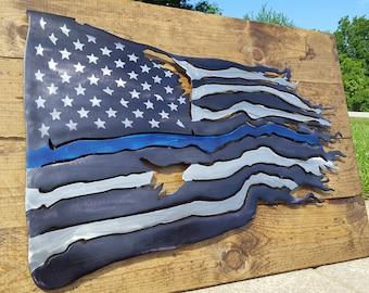 Battle Worn American Thin Blue Line Flag