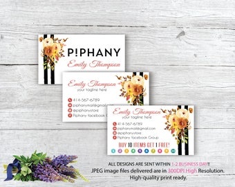 Piphany Business Card, Custom Piphany Business Card, Personalized Piphany Marketing Kit, Watercolor business card, Printable Card TP09