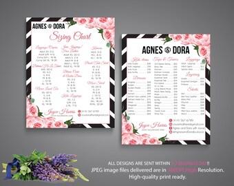 Both Card, Agnes and Dora Size Chart, Agnes and Dora Price List, Custom Agnes Dora Cards, Digital Agnes and Dora, Printable File AG13
