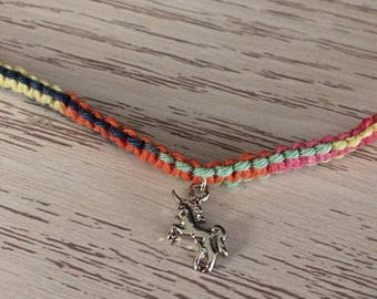 Rainbow Hemp Necklace with Unicorn