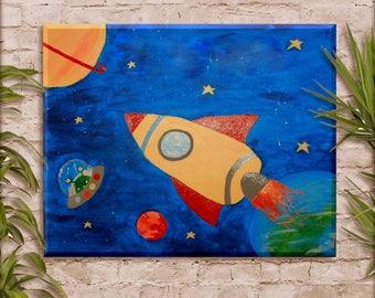 Rocket Ship Decor// Rocket Spaceship wall painting// Kids Rocket ship space painting// nursery room decor