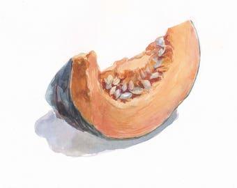 Original watercolor / Pumpkin / Kitchen decor / Pumpkin on white background /Pumpkin decor / Botanical watercolor still life / Small picture