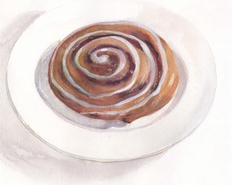 Original watercolor food painting / Cinnamon bun with glaze on white plate / Cinnamon roll / Brown bun / Yummy food art / Kitchen wall decor