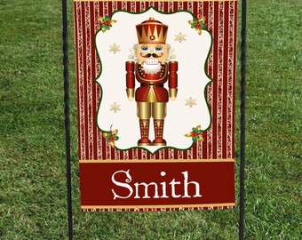 "Personalized Christmas Garden Flag, Nutcracker Burgundy and Gold, Name in center, Christmas Yard Art, 12""x18"", Christmas decor"