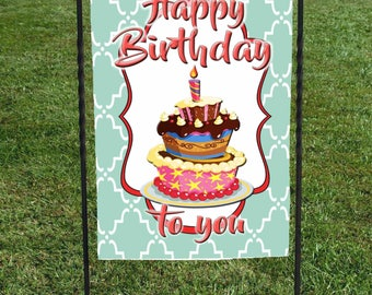 "Happy Birthday to you Garden Flag, Birthday cake Flag, Orange letters, Teal Morracan background, bright colors, 12""x18"""