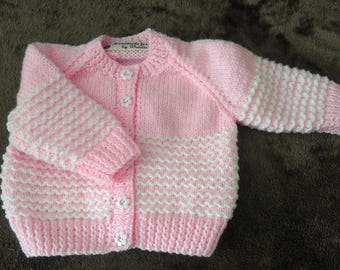 Pretty Pink and White Cardigan