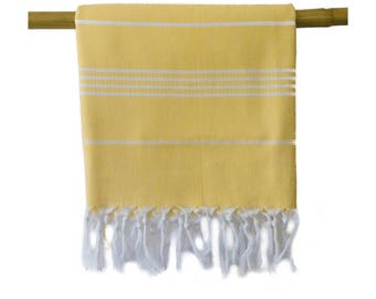 Free Shipping Iris Yellow Turkish Towel Peshtemal