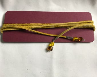 Mustard Leather Wrap Around Choker with Glass Beading