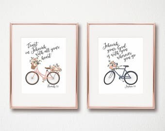 Set of Scripture Quote Wall Art Prints -JW NWT New World Translation - Jehovah related Bible Verses with Bicycles and Peony Floral Blooms
