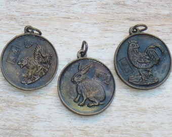 Brass Year or the Tiger, Year of the Rooster, Year of the Rabbit Charms, Sitting Buddha Charm Yin Yang Charm