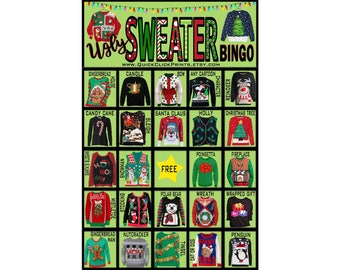 Ugly Sweater Bingo - 30 Cards - Christmas Party Game - Christmas Drinking/People Watching Game - Printable Instant Download
