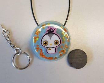 Resin pendant with bird kawaii