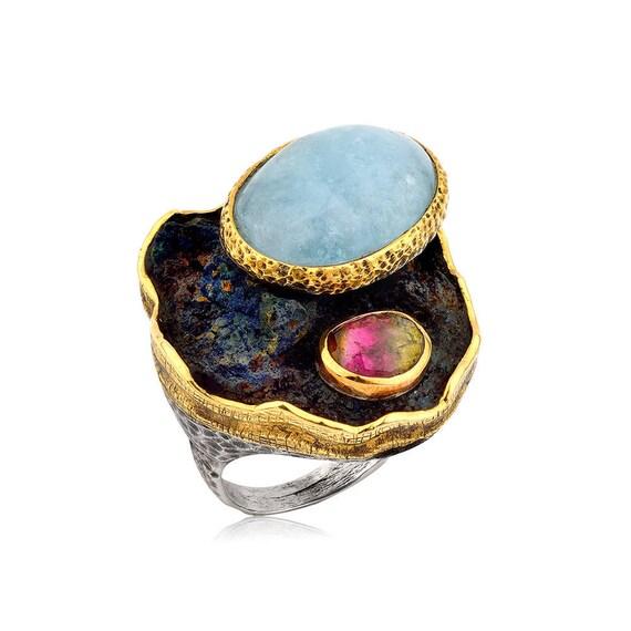 Handmade Aquamarine Ring, Watermelon Tourmaline ring, Azurite ring , Statement Ring, Big Ring, Gift For Her