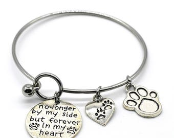 Stainless Steel Bangle Bracelet, No Longer by My Side but Forever in My Heart, Handmade in USA, BAB10