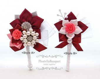 Red, Maroon, Burgundy, Wedding, Boutonniere, Groom, Groomsmen, Father, Fabric boutonniere, Brooch boutonniere, Prom boutonniere