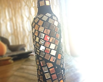 Mirrored Mosaic Wine Bottle - Tile Vase