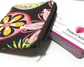 Chocolate floral brown  pouch, carnival bloom zipper purse pouch