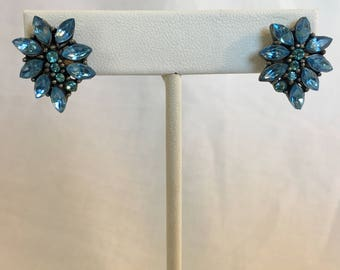 Blue Marquise Cut Rhinestone Flower Set on Gun Metal Silver Tone Vintage Pierced Earrings