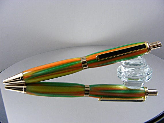 Handcrafted Click Top Ink Pen in 24K Gold and Tropicana Acrylic