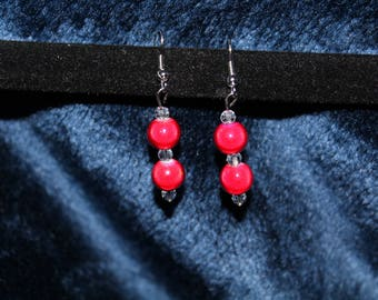 Red Double Ball Earring