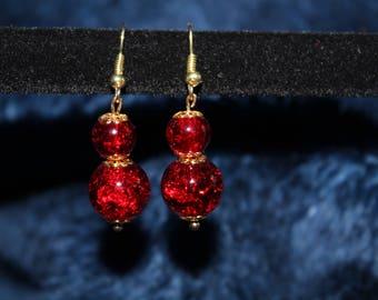 Red Double Ball Drop Earrings