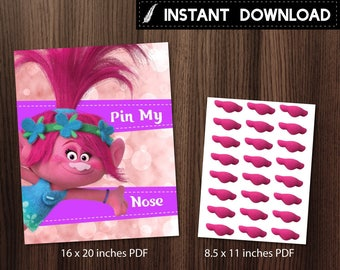 Instant Download - Trolls Poppy Pin My Nose Birthday Party Play Game Pink Bokeh DIY Printable - Digital File