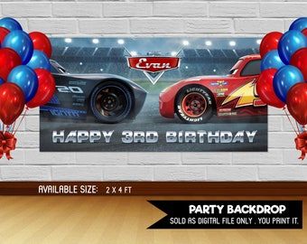 Personalized Cars 3 Lightning Mcqueen Jackson Storm Backdrop Birthday Banner Sign Party Background Table Setting Printable DIY- Digital File